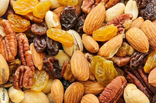Fotografie, Obraz  Assorted mix of dry fruites and Nuts close up view