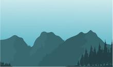 Silhouette Of Beautiful Mountain Views
