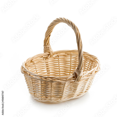 Fotografija  wooden basket on white background