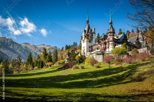 Poster de jardin Chateau Sinaia, Romania - October 19th,2014 View of Peles castle in Sinaia, Romania, built by king Carol I of Romania. The castle is considered to be the most important historic building in Romania.