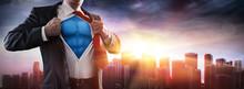 Businessman Superhero With Sun...