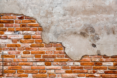Deurstickers Baksteen muur Old brick wall torn