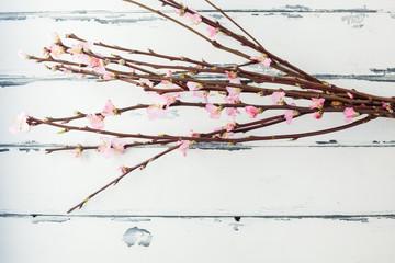 körsbärskvistar på vintage bakgrund