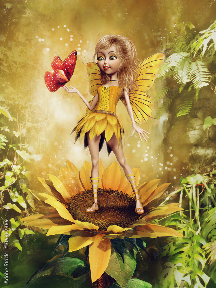 Fototapety, obrazy: Baśniowa wróżka w żółtej sukience stojąca na słoneczniku