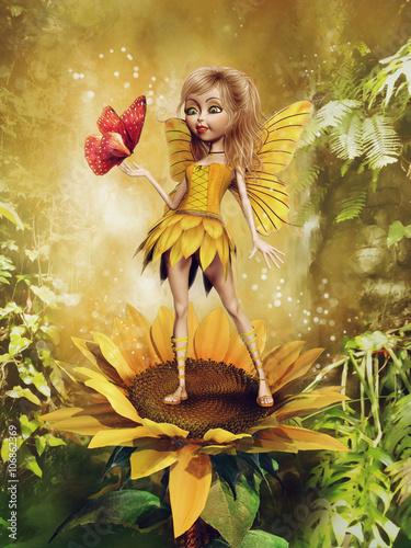 Obraz Baśniowa wróżka w żółtej sukience stojąca na słoneczniku - fototapety do salonu