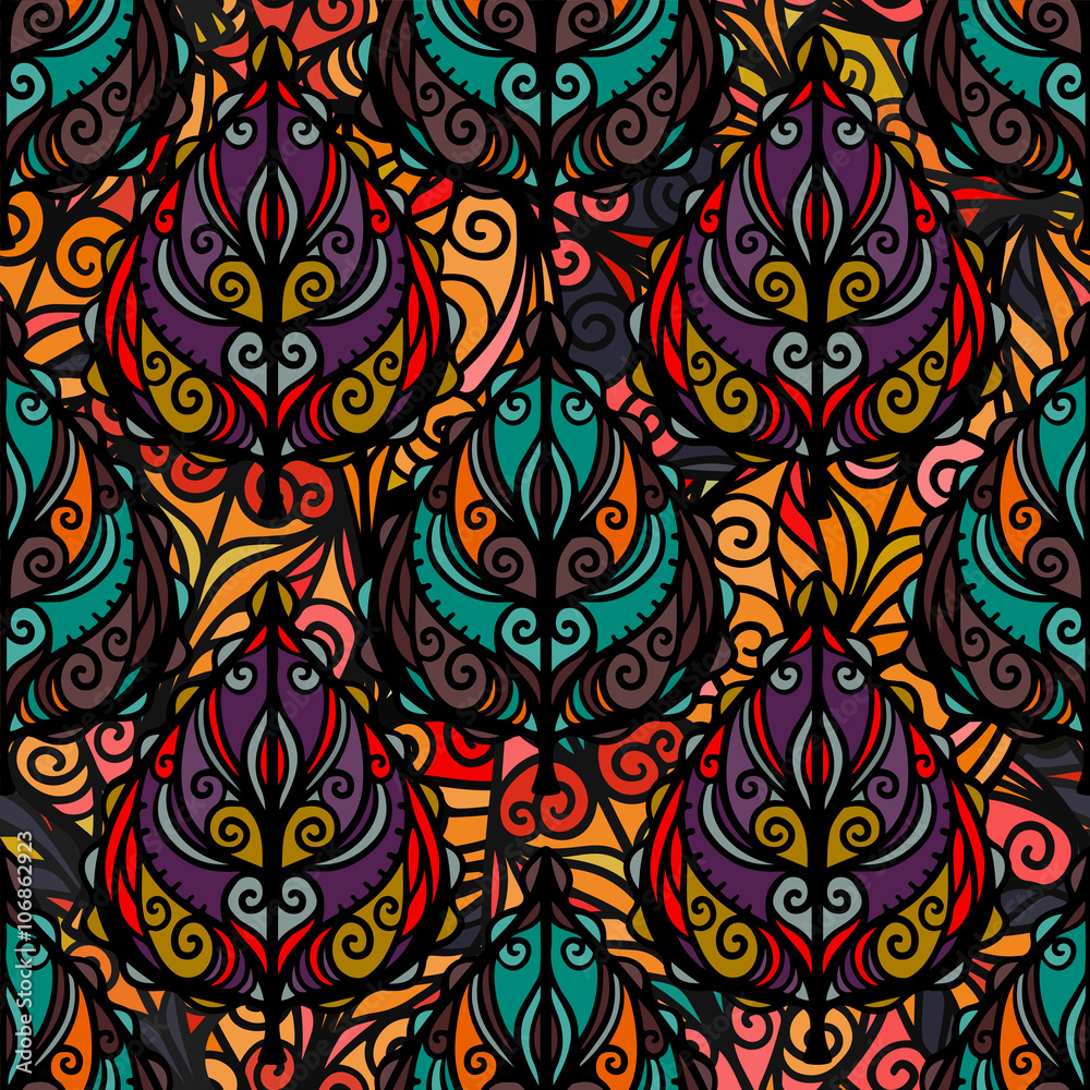 Photo Boho seamless pattern with leaves