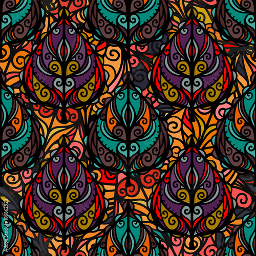 Fototapeta Boho seamless pattern with leaves