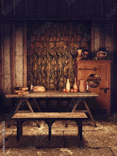 Jadalnia w średniowiecznym domu