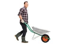 Gardener Pushing An Empty Wheelbarrow
