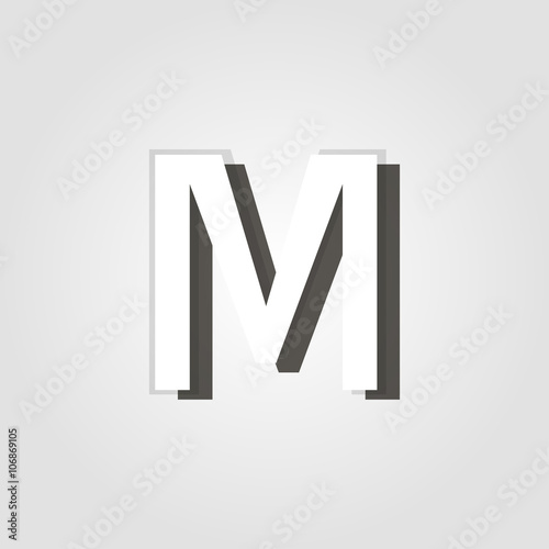 Capital Letter M On A Grey Background