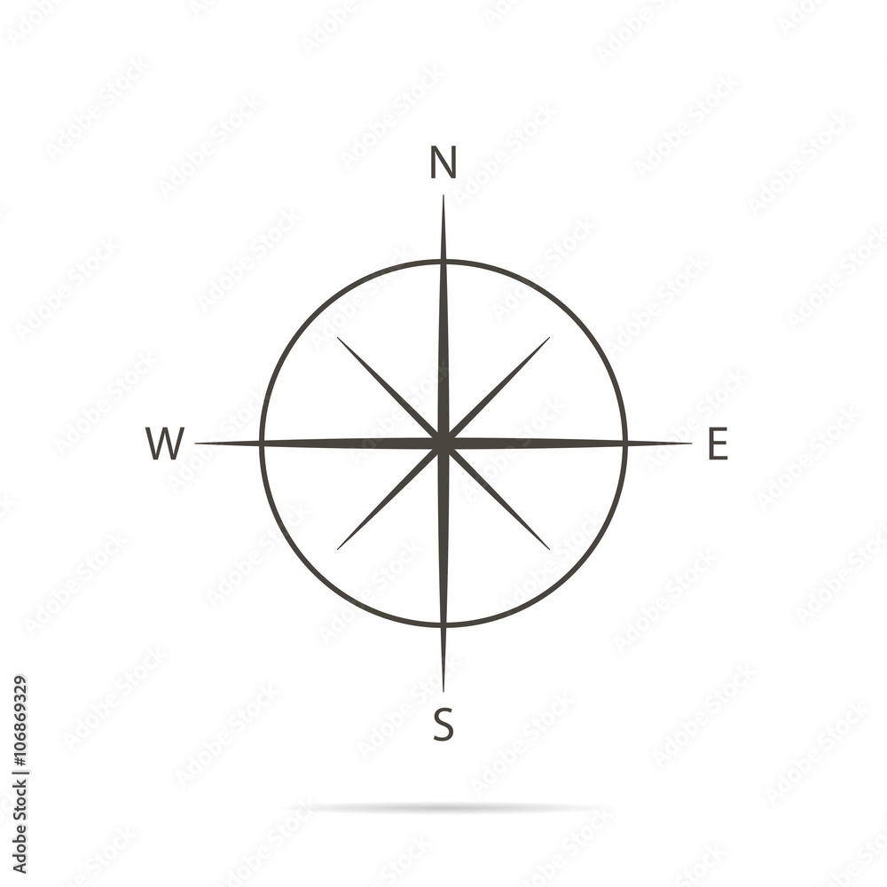 Fototapety, obrazy: Icon compass on white background and flat design