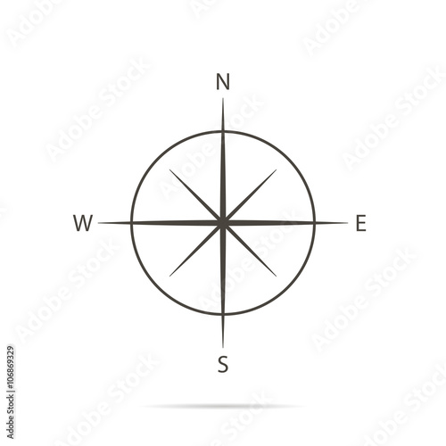 Icon compass on white background and flat design Wall mural