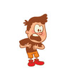 Vector cartoon image of a cute little boy in orange shorts, brown t-shirt standing, proving his innocence on white background. Color image with brown tracings. Positive character. Vector illustration.