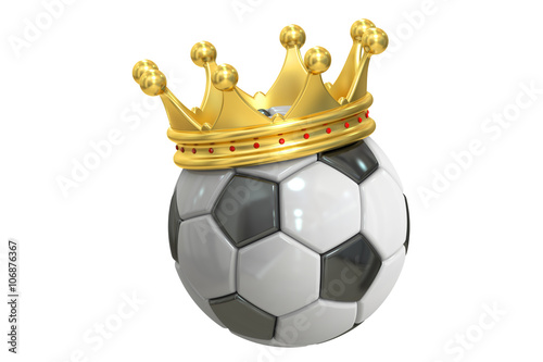 Gold crown soccer ball, 3D rendering