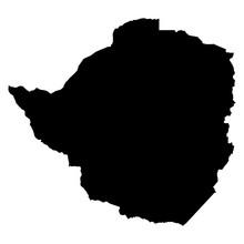Zimbabwe Black Map On White Ba...
