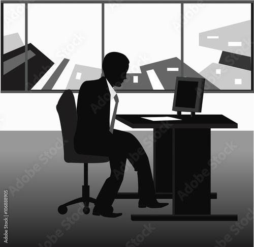 Fototapeta vector illustration of businessman silhouette obraz na płótnie