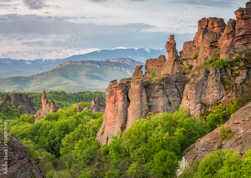 Spoed Fotobehang Bleke violet Belogradchik rocks Magnificent morning view of the Belogradchik rocks, Bulgaria.