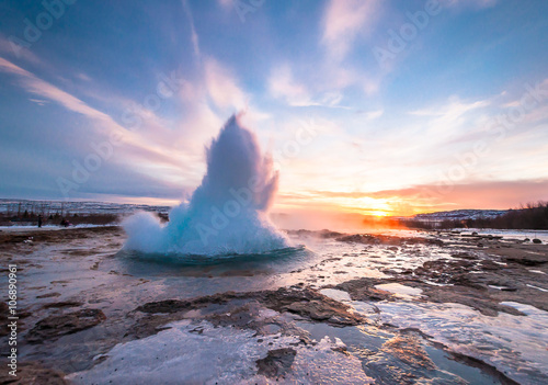 Canvas Prints Northern lights Geyser Strokkur in Iceland, eruption