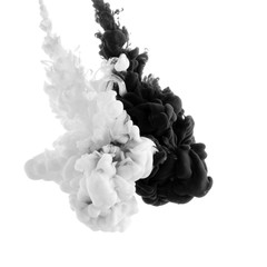 Abstract acrylic black and white paint