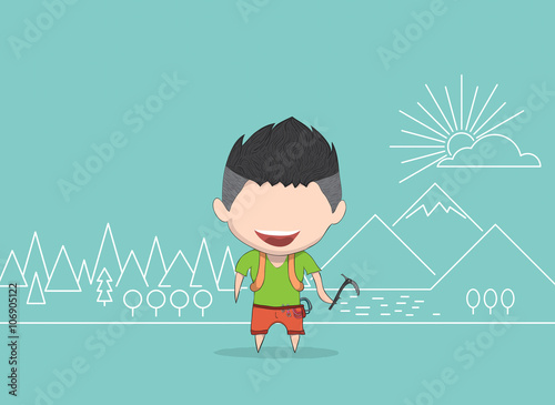 Photo Vector illustration of a man happy for mountaineer line. drawing