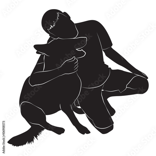 Photo Silhouette of guy and dog