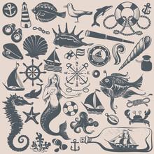 Vintage Drawings Of NauticalI Illustrations