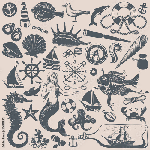 Vintage Drawings of NauticalI Illustrations , Buy this stock