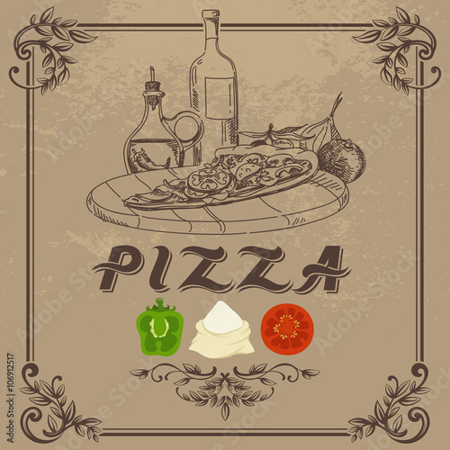 Fotografiet  Vintage Doodle Illustration of Pizza