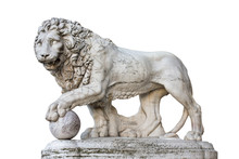 Lion Statue In Florence Italy Isolated On White