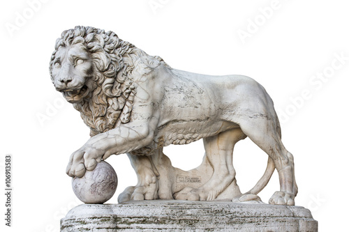Staande foto Leeuw Lion Statue in Florence Italy Isolated on White