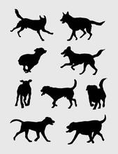Dog Running Silhouettes, Art V...