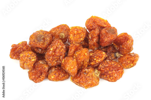 Sun dried golden berries - (Physalis peruviana) isolated on white background