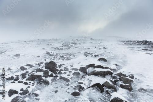 Papiers peints Sauvage Frozen glacial landscape with rocks, langjokull, Iceland