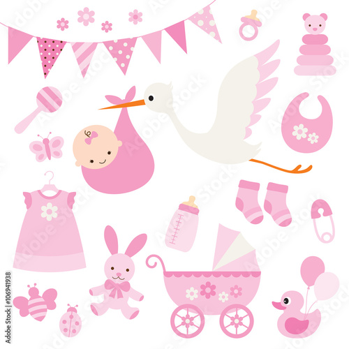 Vector illustration for baby girl shower and baby items. Poster