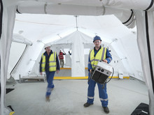 Portrait Of Emergency Response Team Worker In Control Centre Tent