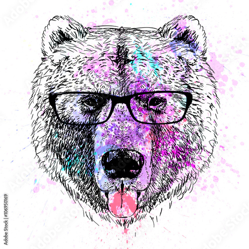 Canvas Prints Hand drawn Sketch of animals bear character colorful portrait