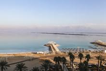 Tourist Beach On The Shore Of The Dead Sea, Israel