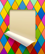 Paper Sheet Cut Framed And Partially Rolled Up With Harlequin Rh