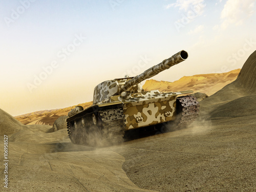 Photo  Tank in camouflage moving at the desert