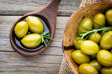 Fresh Olives And Gray Backgrou...