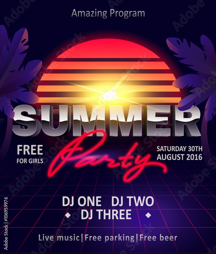 80s summer party flyer template invitation summer party poster