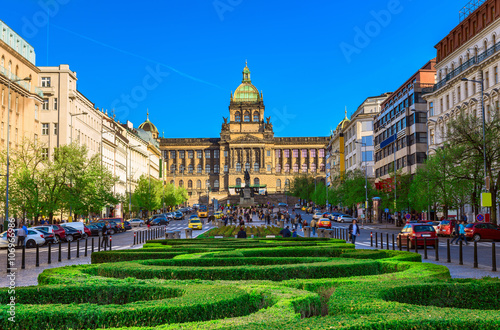 Prague Wenceslas square and National Museum in Prague, Czech Republic
