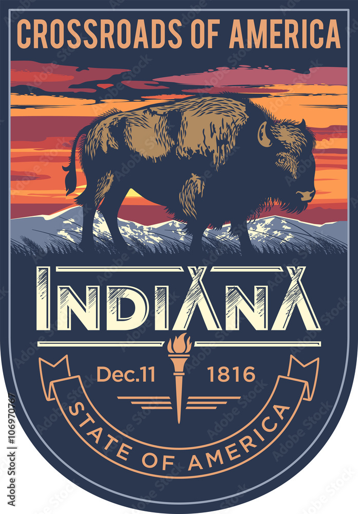 Fototapeta Индиана эмблема штата США, бизон на закате на синем фоне