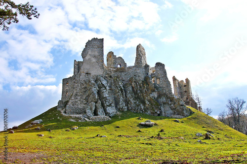 Foto op Canvas Rudnes Ruins of castle Hrusov