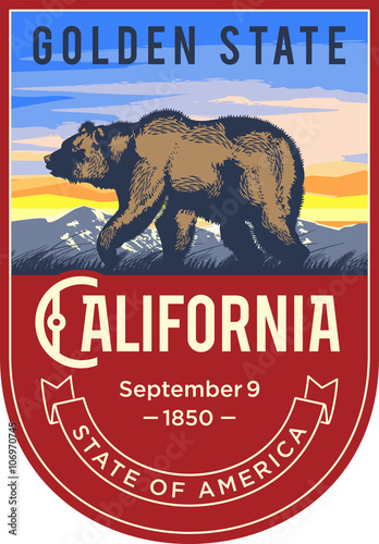 Plakat Калифорния эмблема штата США, медведь на восходе на красном фоне