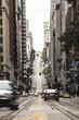 Traffic moving on city street, San Francisco, California, USA