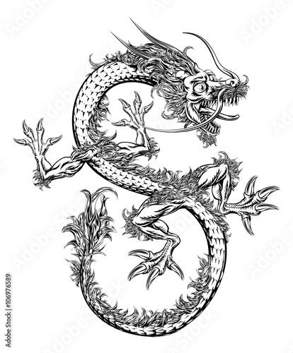 chinski-lub-japonski-orientalny-smok-ilustracja-czarno-biala
