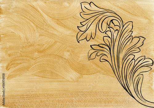 Fotografie, Obraz  Luxurious antique style Acanthus décor over golden background