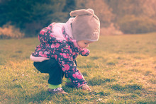 Little Baby Toddler Exploring Cold Outside World