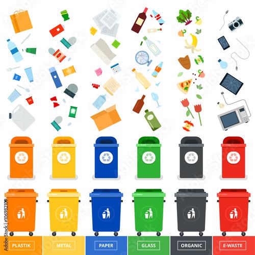 Fotografie, Obraz  Trash cans with srted garbage